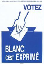 1992 Affiche Gerard Gautier Votez Blanc c_est Exprime